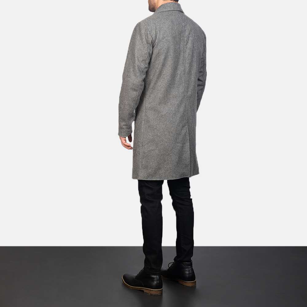 Men's Grey Wool Single Breasted Coat 5