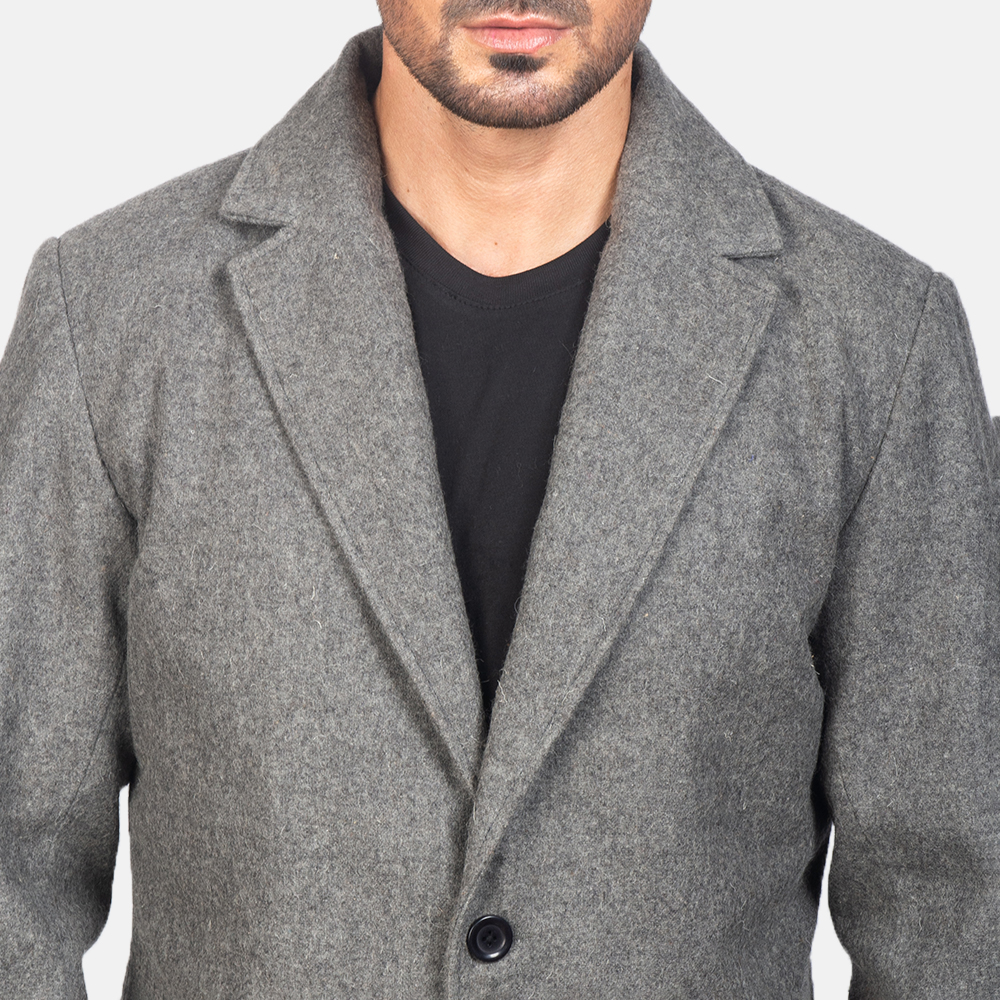 Men's Grey Wool Single Breasted Coat 6
