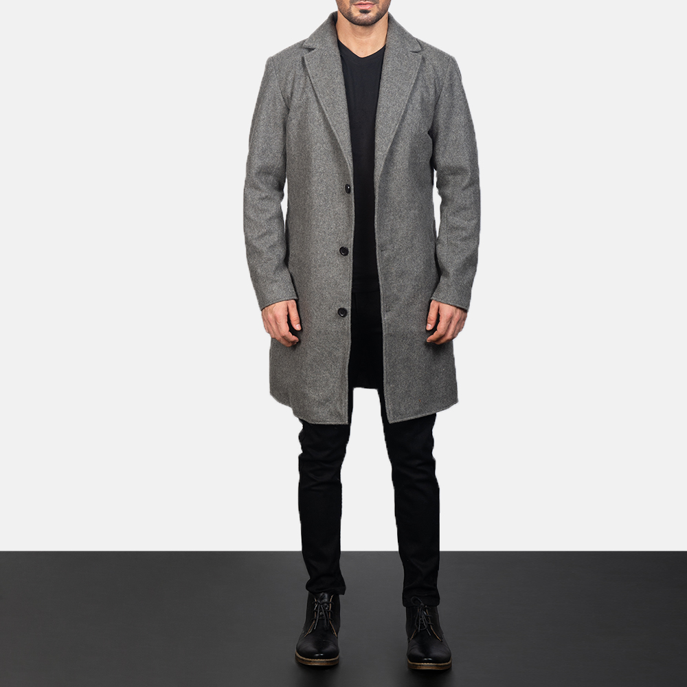 Men's Grey Wool Single Breasted Coat 3