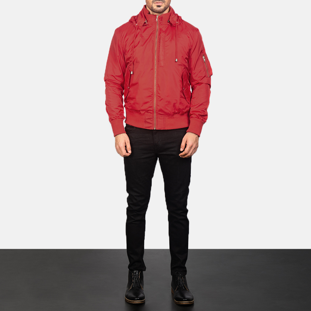 Men's Red Hooded Bomber Jacket 1