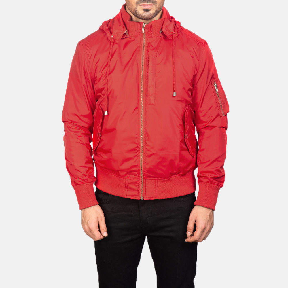 Men's Red Hooded Bomber Jacket 4