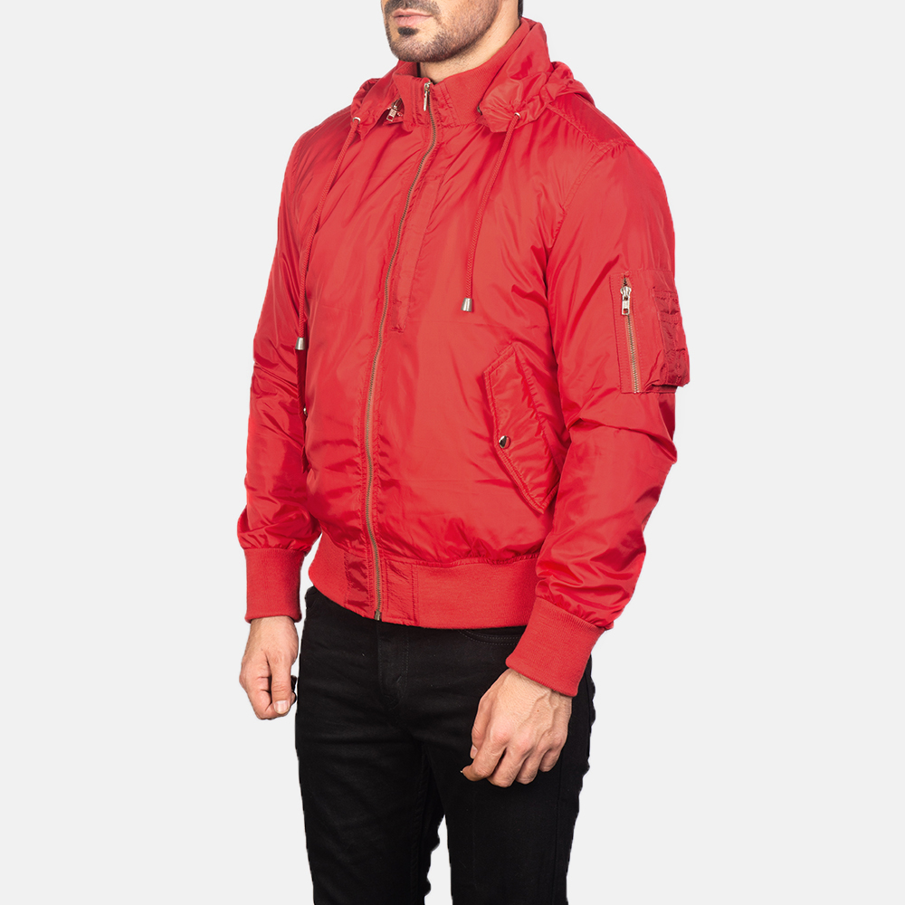 Men's Red Hooded Bomber Jacket 2
