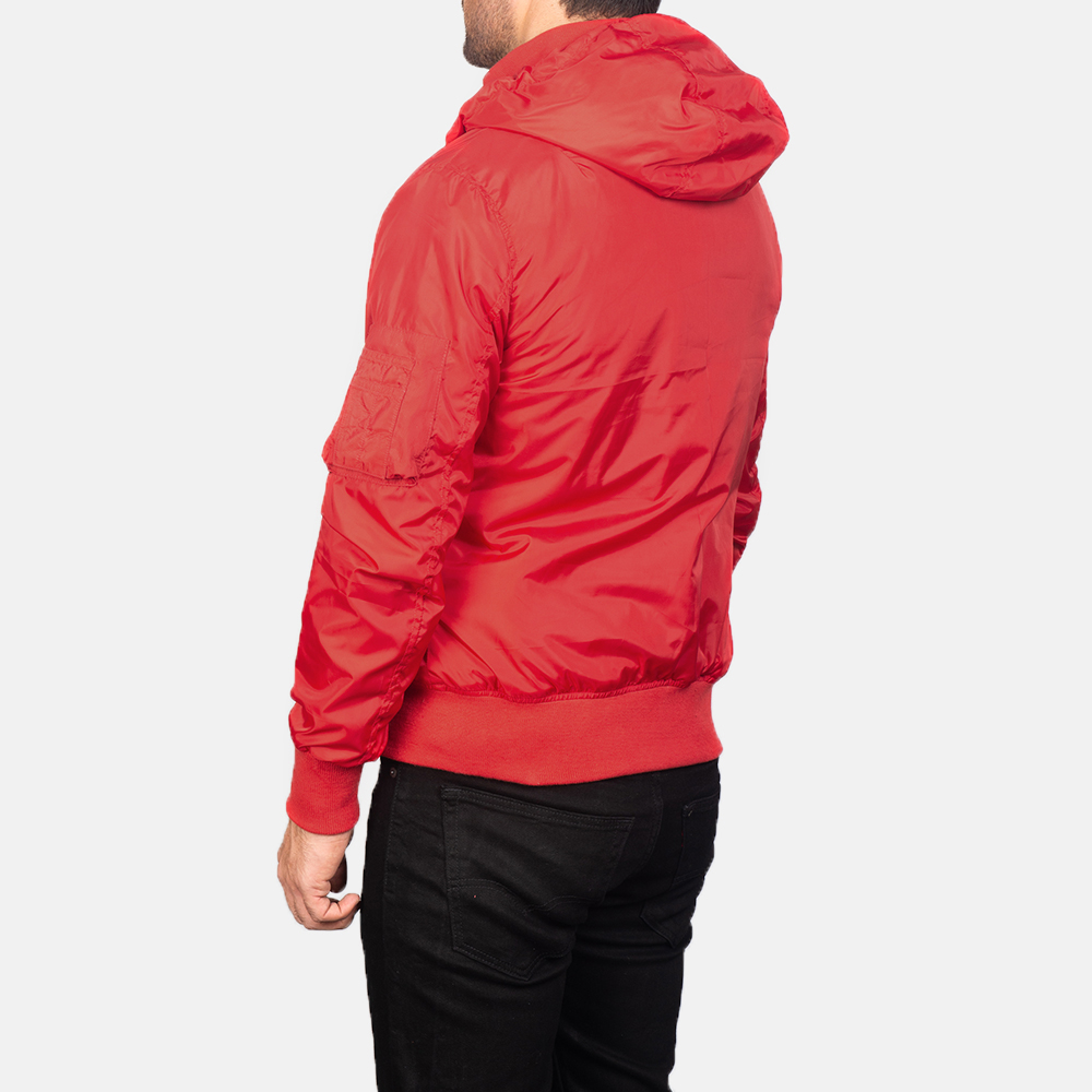 Men's Red Hooded Bomber Jacket 5