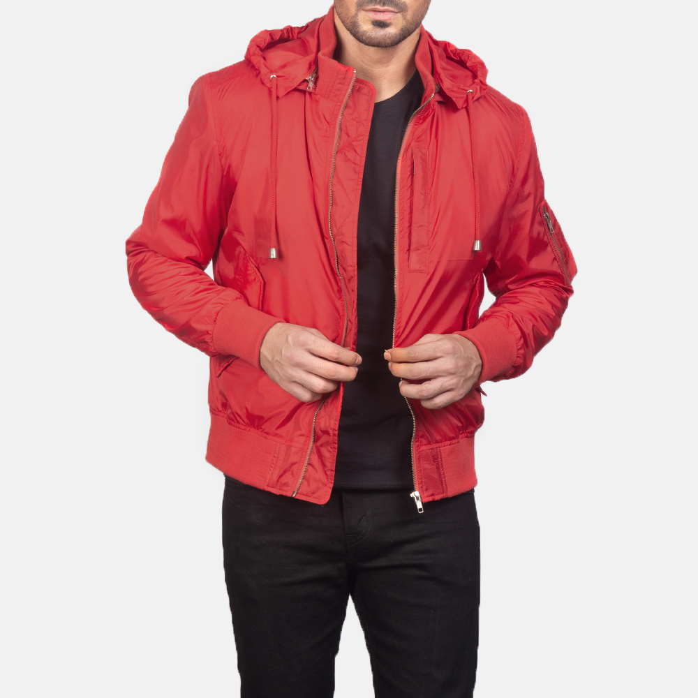 Men's Red Hooded Bomber Jacket 3