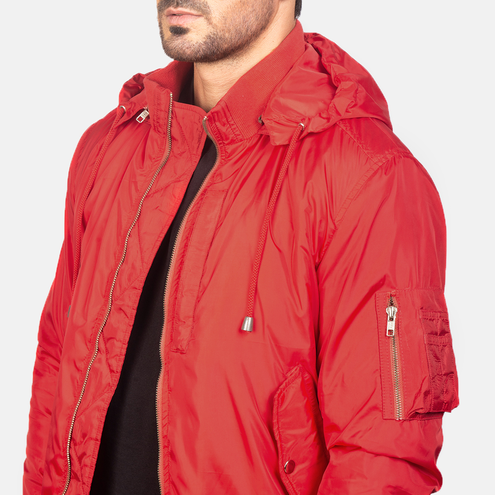 Men's Red Hooded Bomber Jacket 6