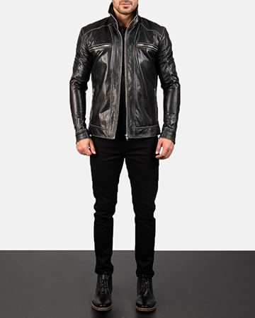 Men's Hudson Leather Biker Jacket 1