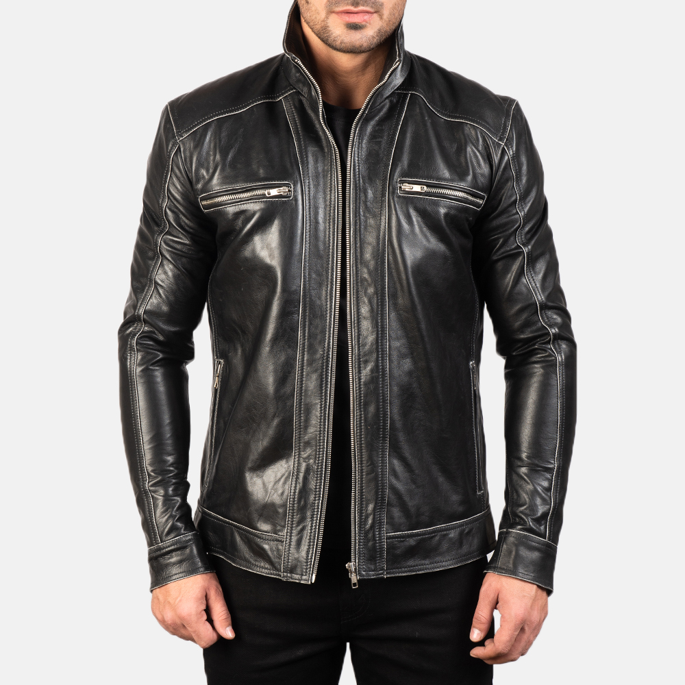 Hudson Black Leather Biker Jacket