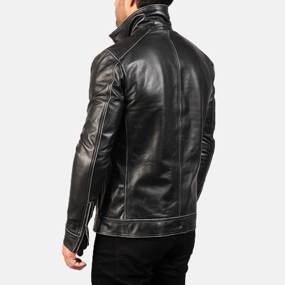 Men's Hudson Leather Biker Jacket 7