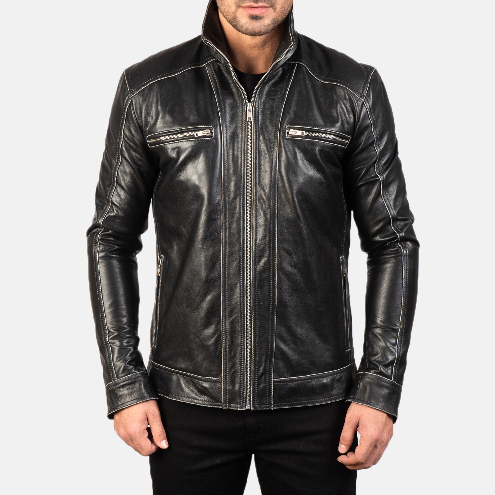 Men's Hudson Leather Biker Jacket 4