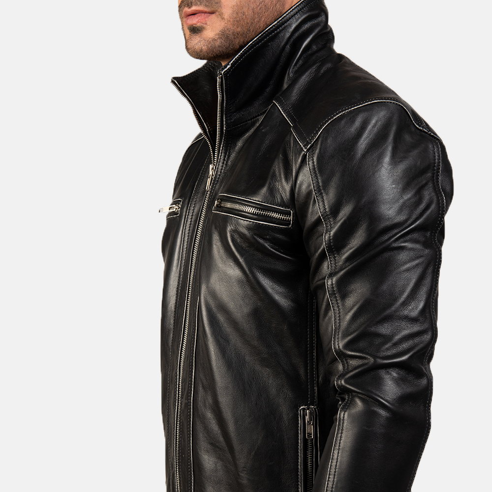 Men's Hudson Leather Biker Jacket 8
