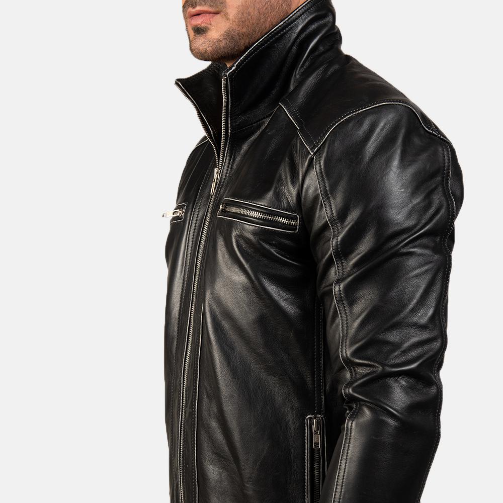 Men's Hudson Leather Biker Jacket 8
