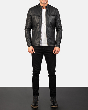 Mens Ionic Black Leather Jacket 1