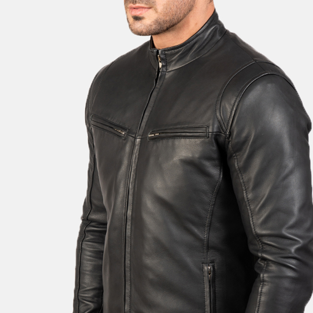 Mens Ionic Black Leather Jacket 6