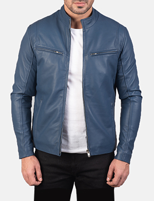 Mens Ionic Blue Leather Biker Jacket