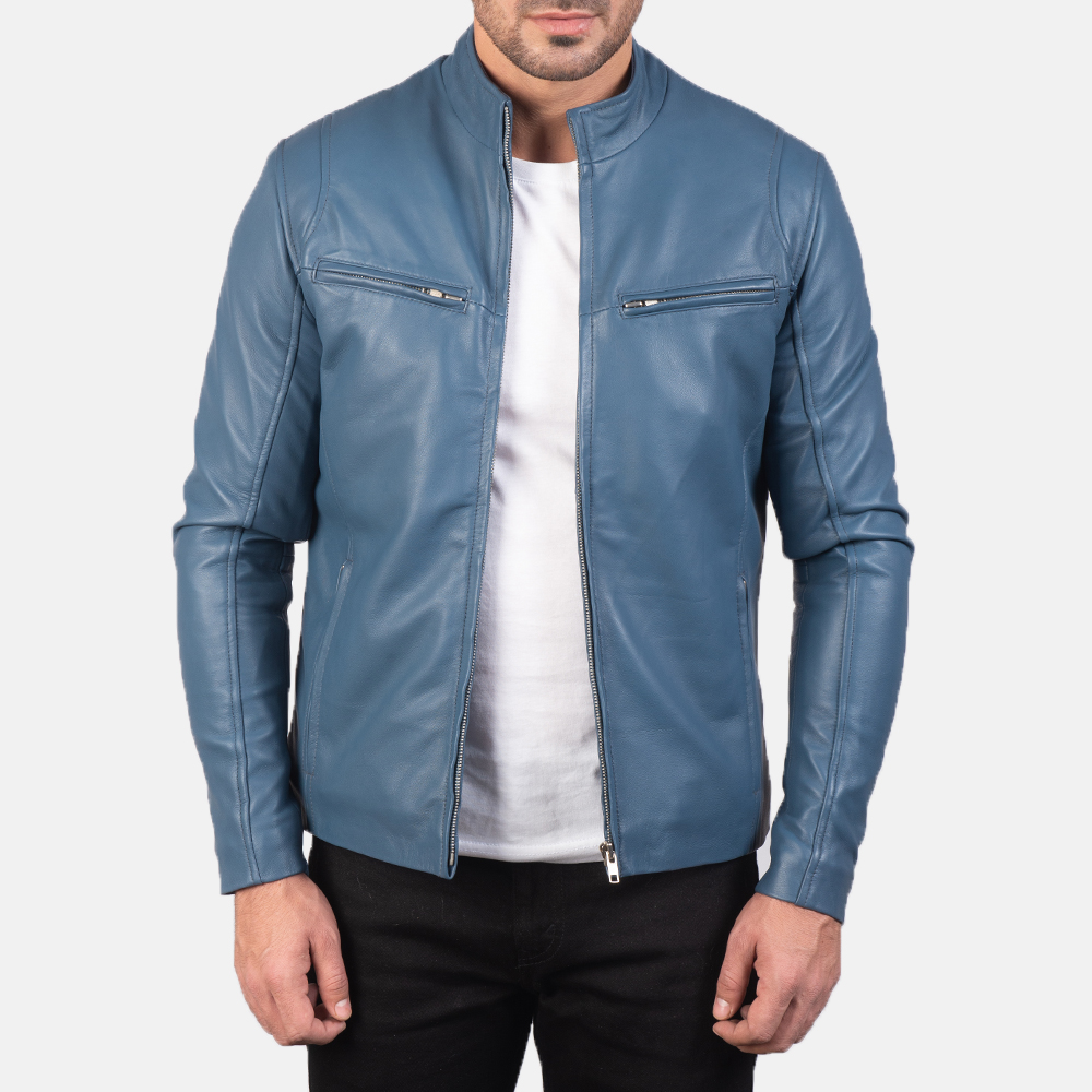 Mens Ionic Blue Leather Biker Jacket 3
