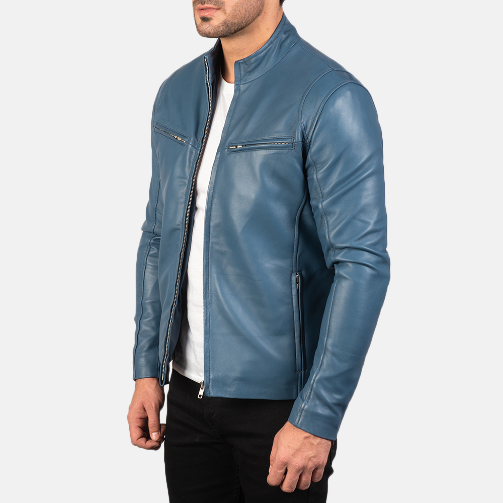 Mens Ionic Blue Leather Biker Jacket 2