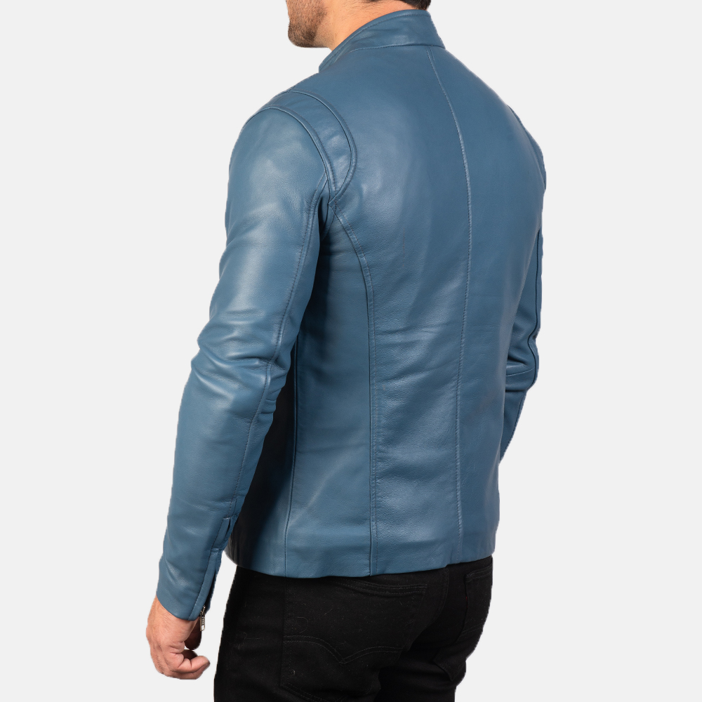 Mens Ionic Blue Leather Biker Jacket 5