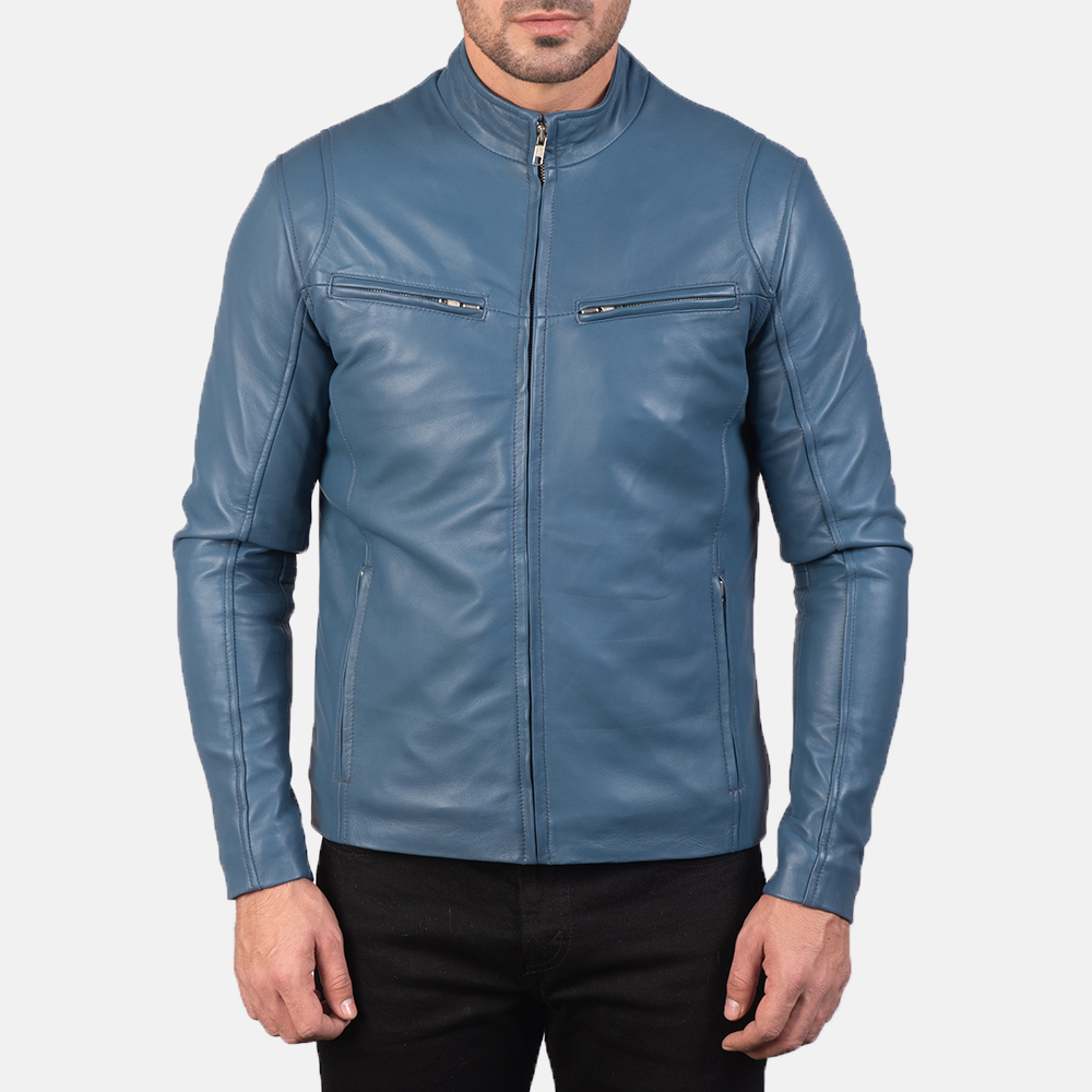Mens Ionic Blue Leather Biker Jacket 4