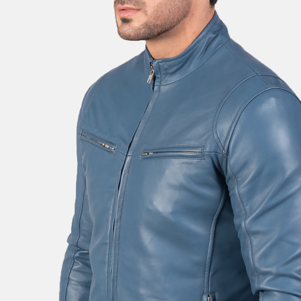 Mens Ionic Blue Leather Biker Jacket 6