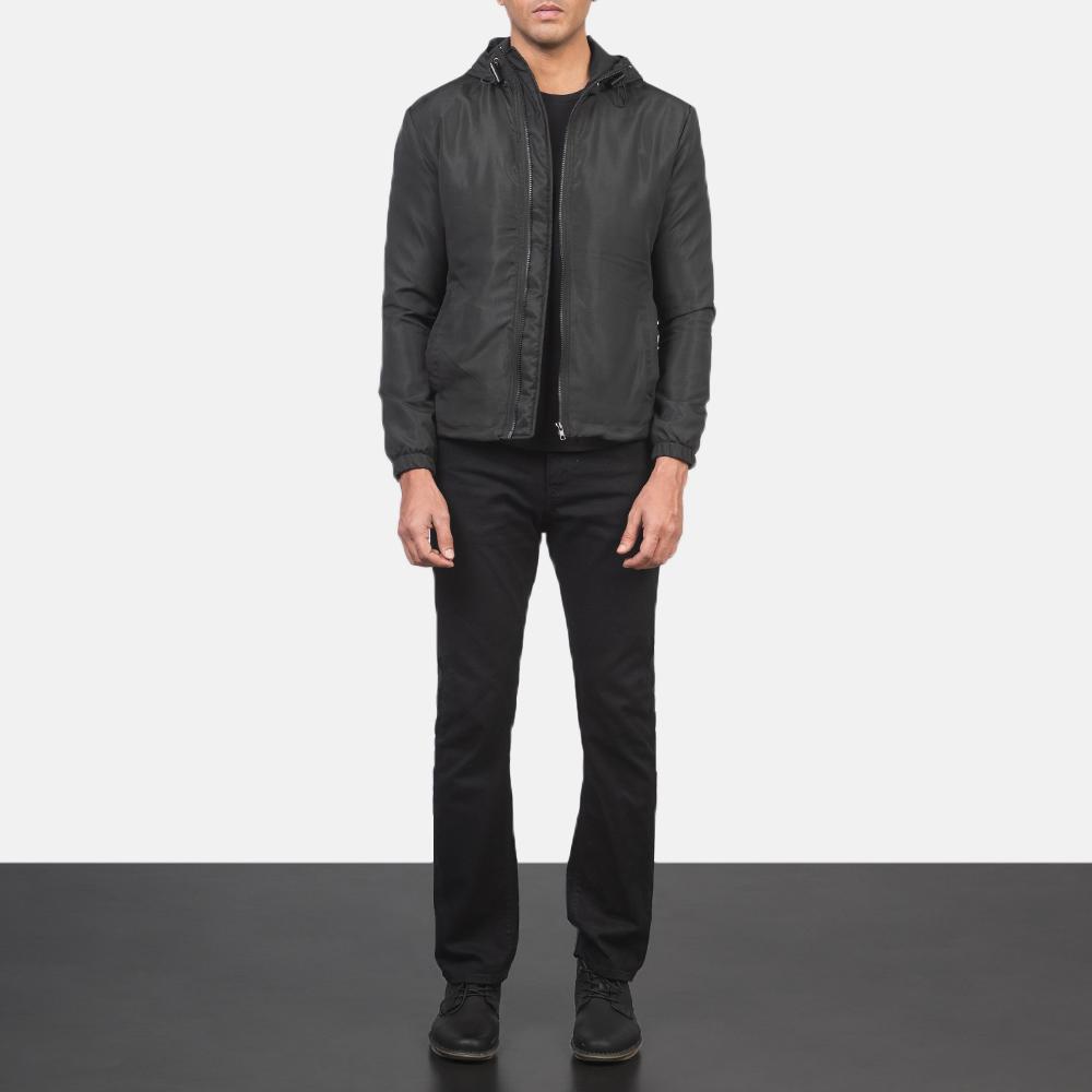 Men's Jimmy Black Hooded Windbreaker Jacket 1