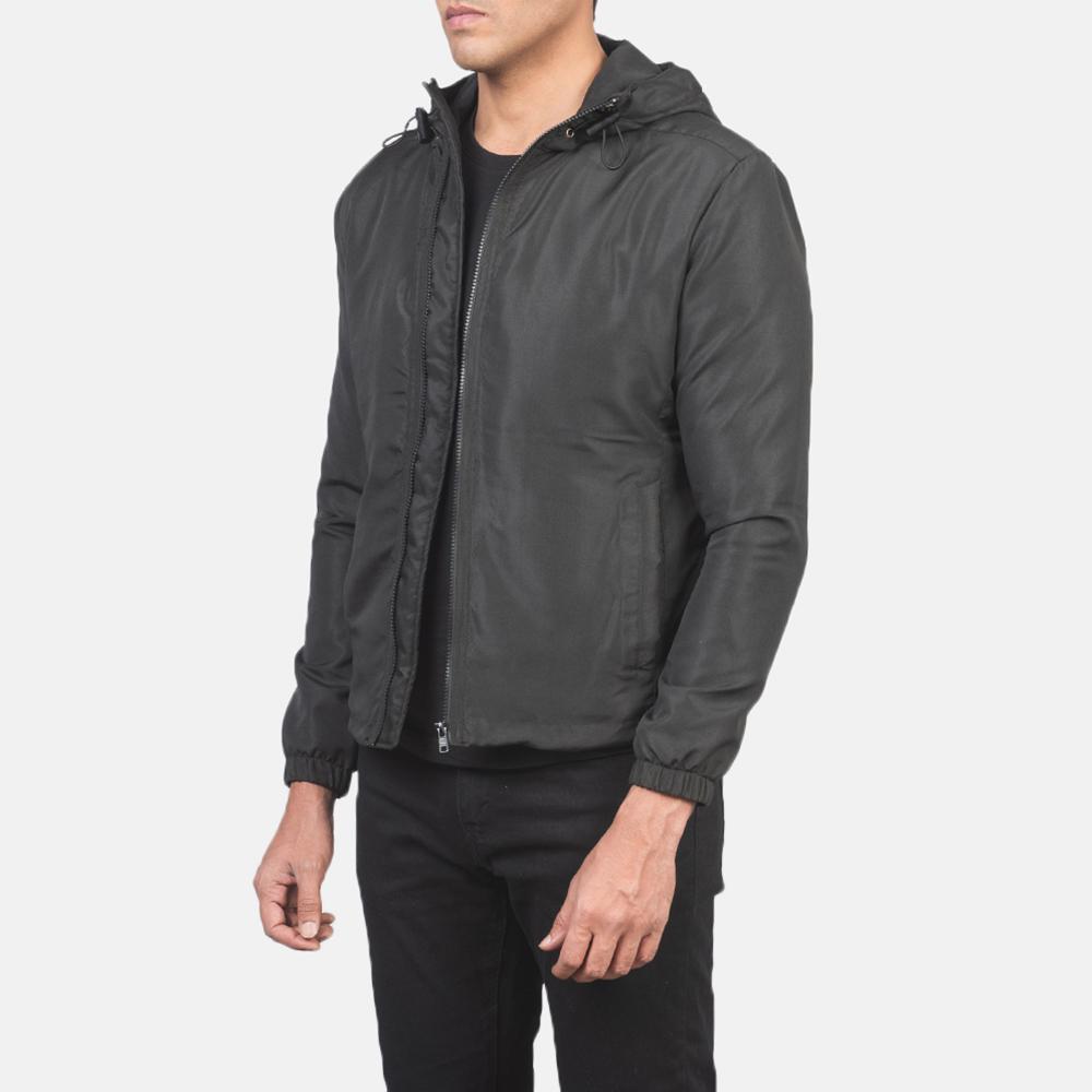 Men's Jimmy Black Hooded Windbreaker Jacket 2