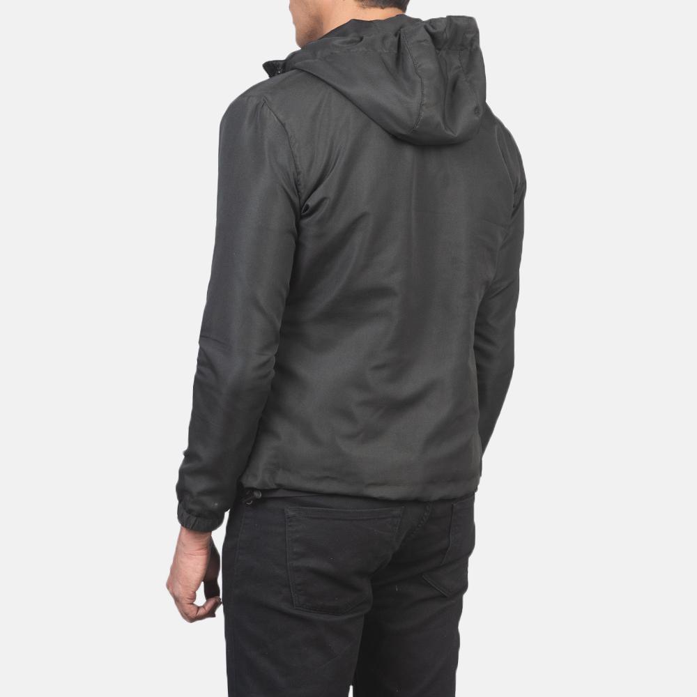Men's Jimmy Black Hooded Windbreaker Jacket 5