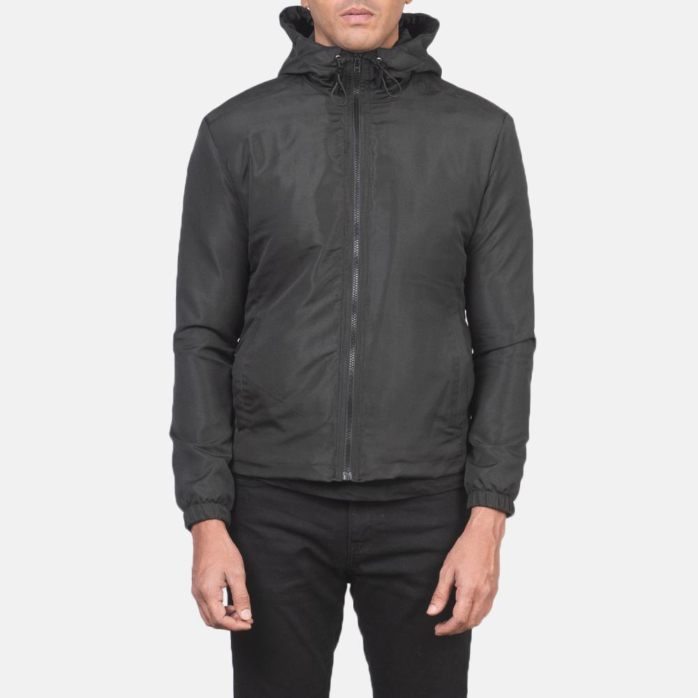 Men's Jimmy Black Hooded Windbreaker Jacket 4