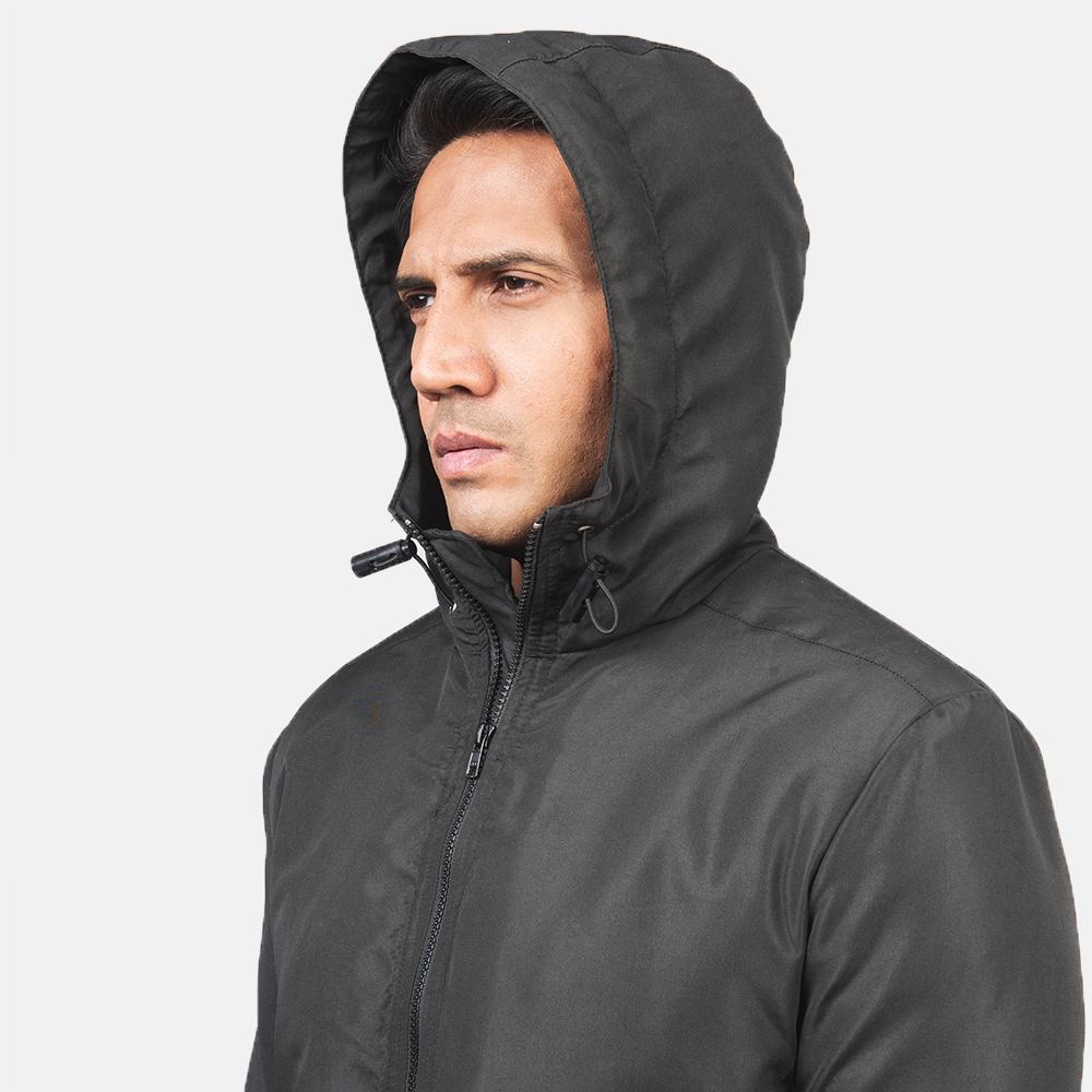 Men's Jimmy Black Hooded Windbreaker Jacket 6