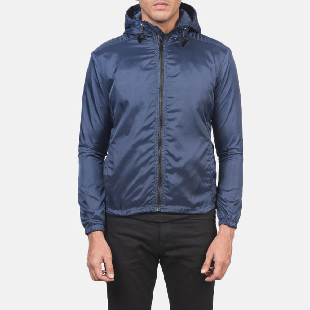 Men's Jimmy Blue Hooded Windbreaker Jacket 4
