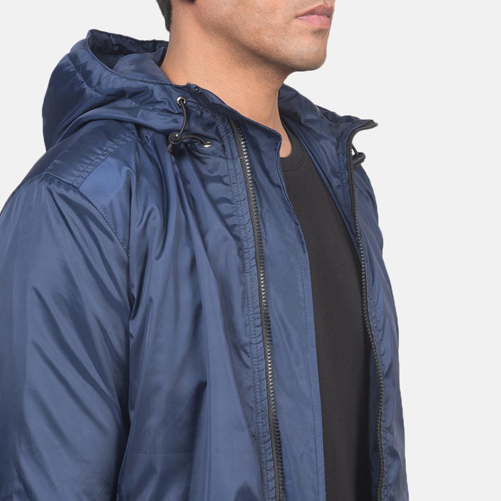 Men's Jimmy Blue Hooded Windbreaker Jacket 6