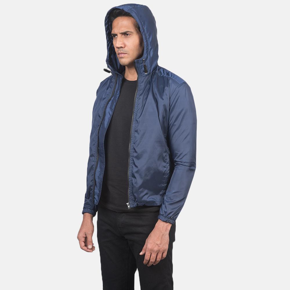 Men's Jimmy Blue Hooded Windbreaker Jacket 3