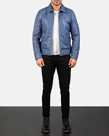 Men's Lavendard Blue Leather Biker Jacket 1
