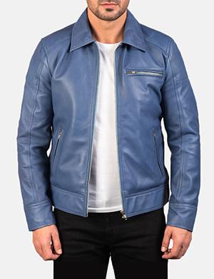 Men's Lavendard Blue Leather Biker Jacket