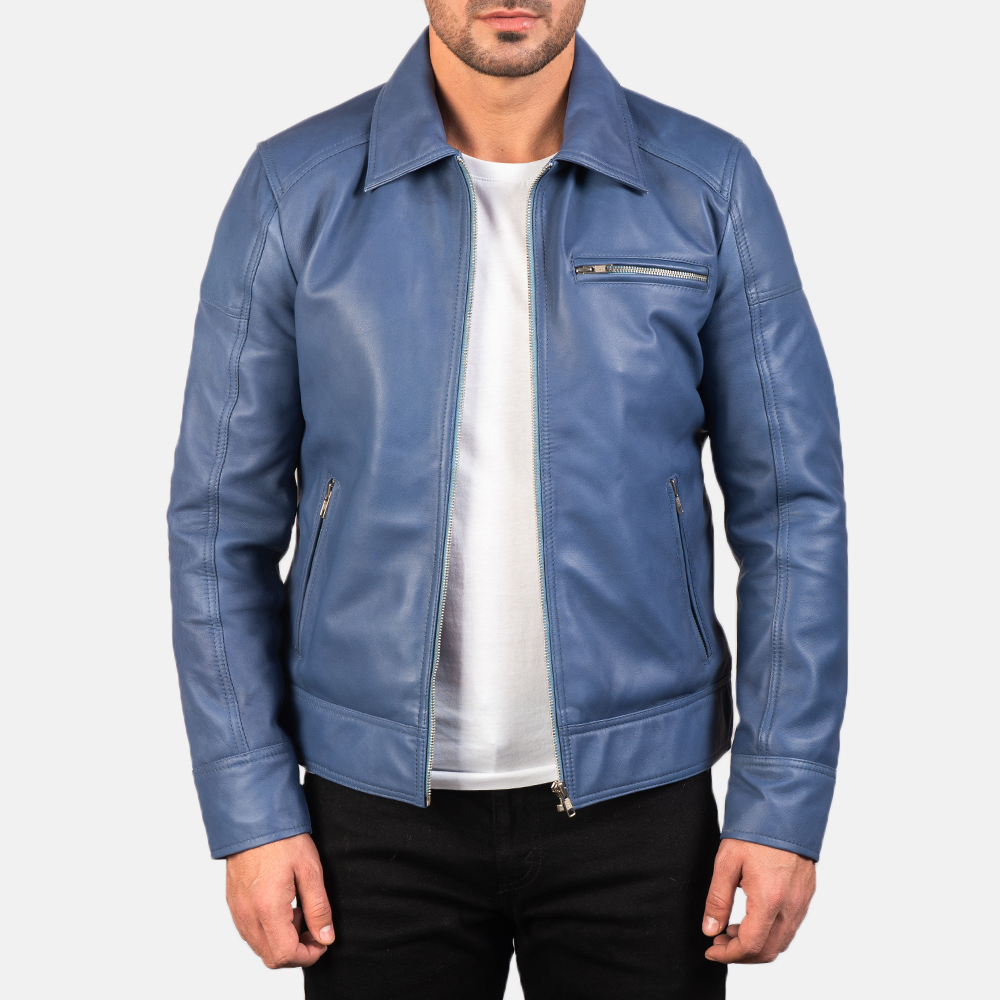 Men's Lavendard Blue Leather Biker Jacket 3