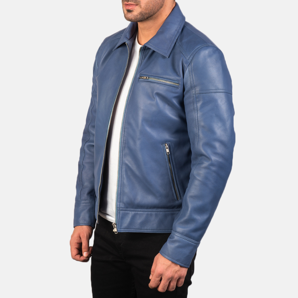 Men's Lavendard Blue Leather Biker Jacket 2