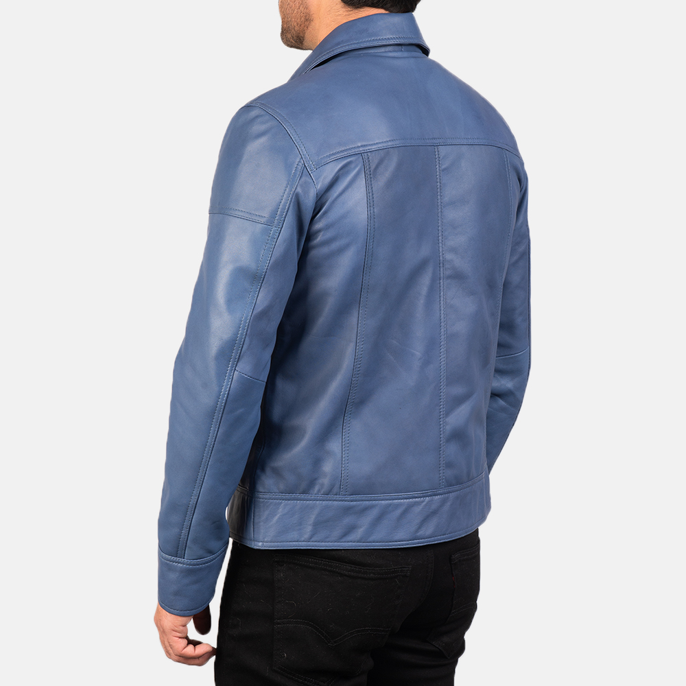 Men's Lavendard Blue Leather Biker Jacket 5