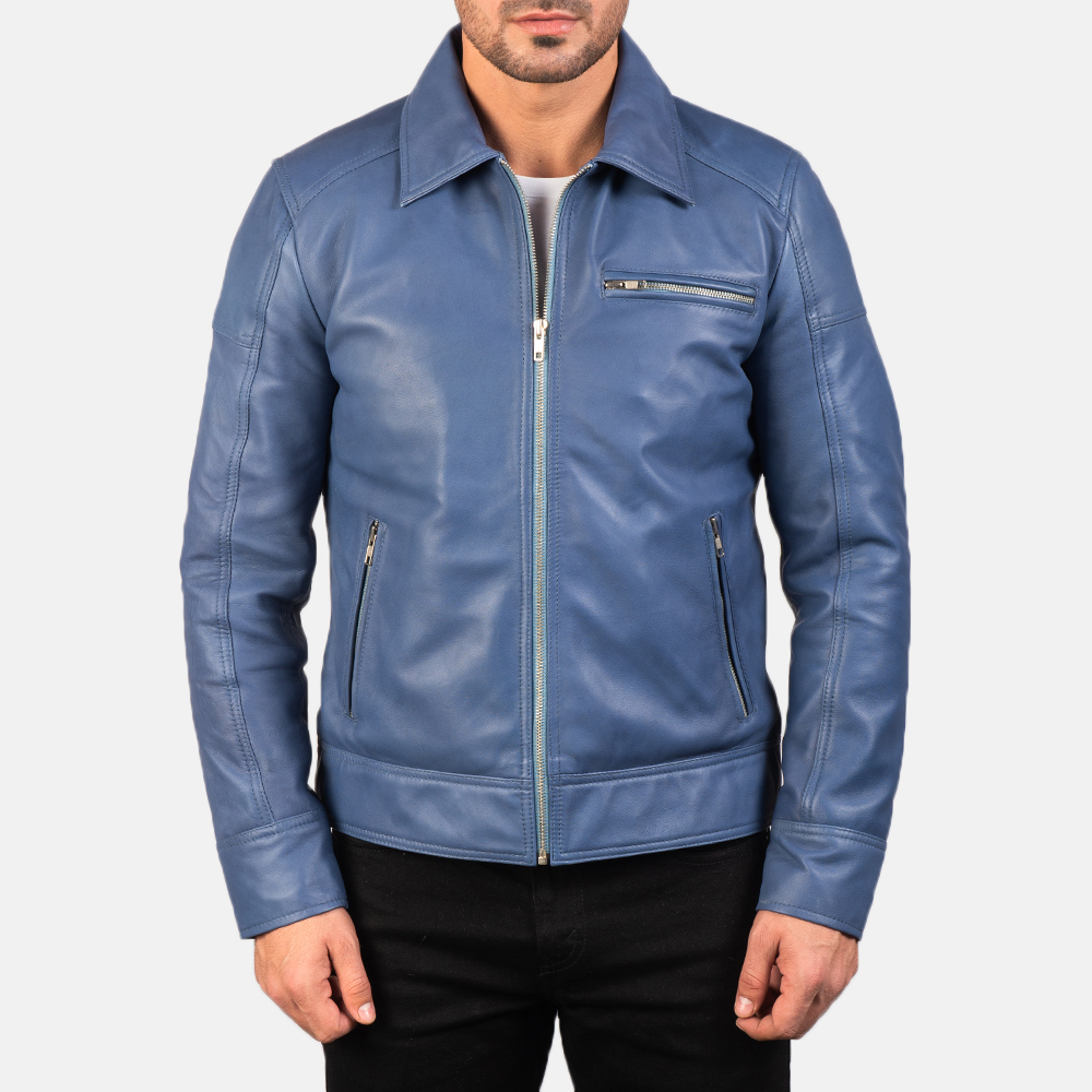 Men's Lavendard Blue Leather Biker Jacket 4