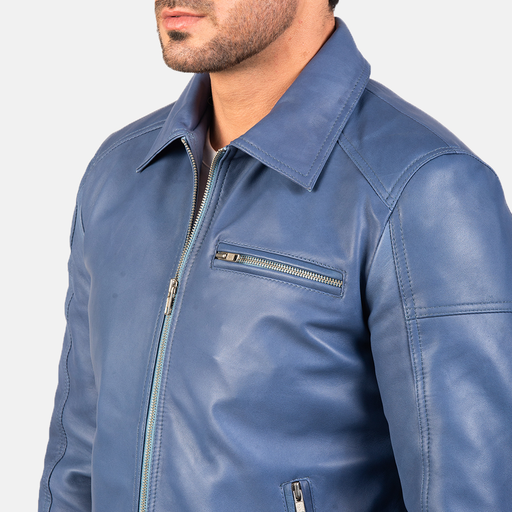 Men's Lavendard Blue Leather Biker Jacket 6