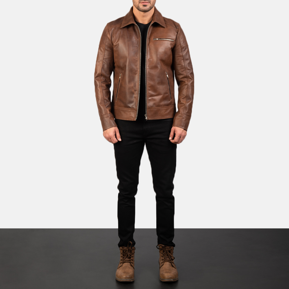 Mens Lavendard Brown Leather Biker Jacket 1