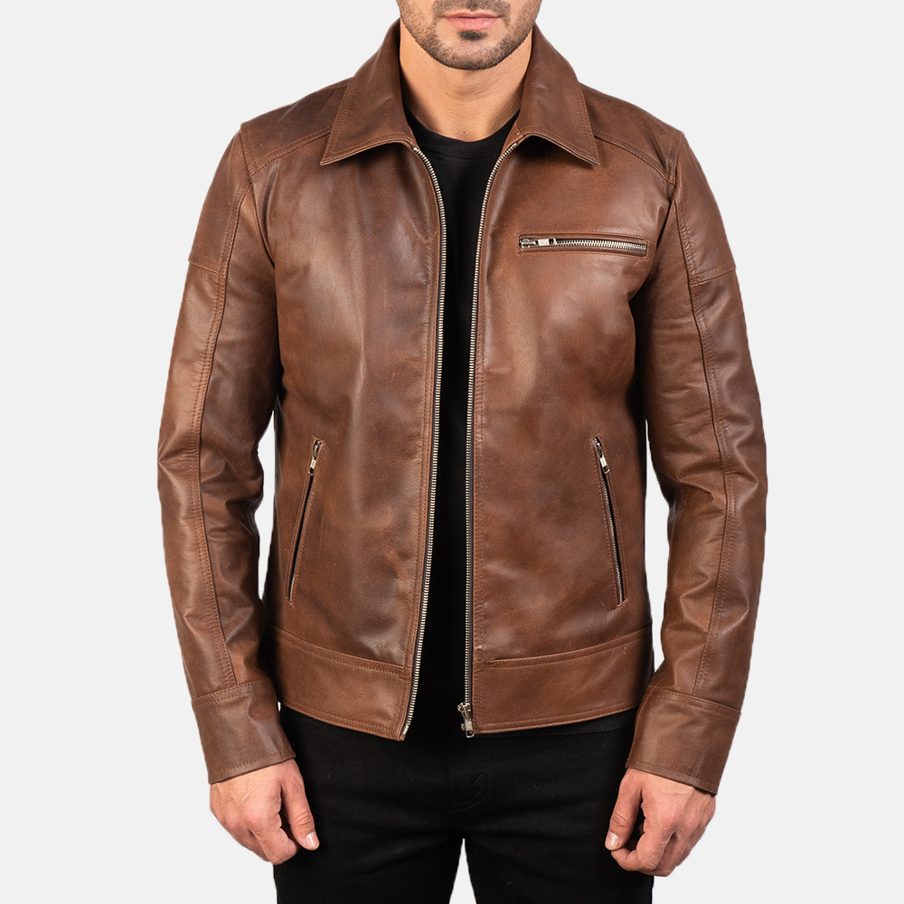 Lavendard Brown Leather Biker Jacket