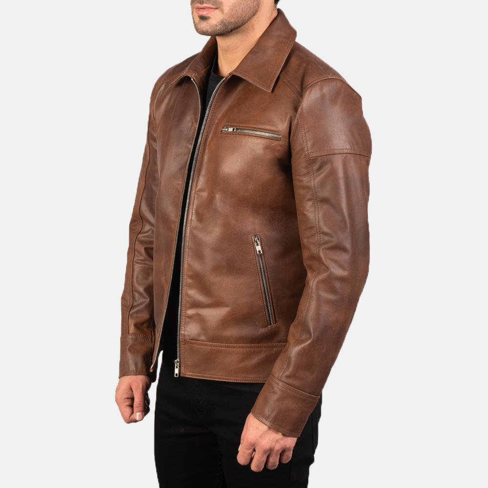 Mens Lavendard Brown Leather Biker Jacket 2