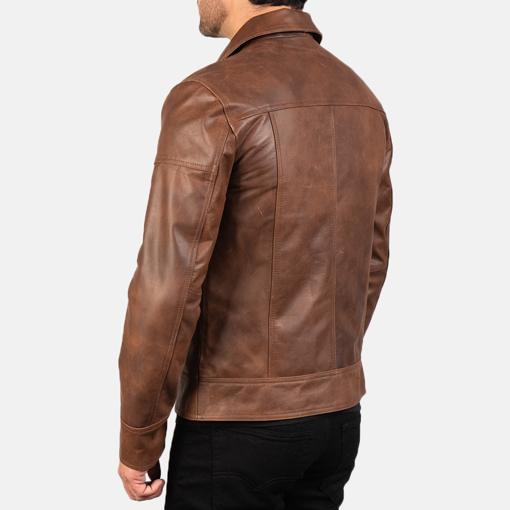 Mens Lavendard Brown Leather Biker Jacket 5