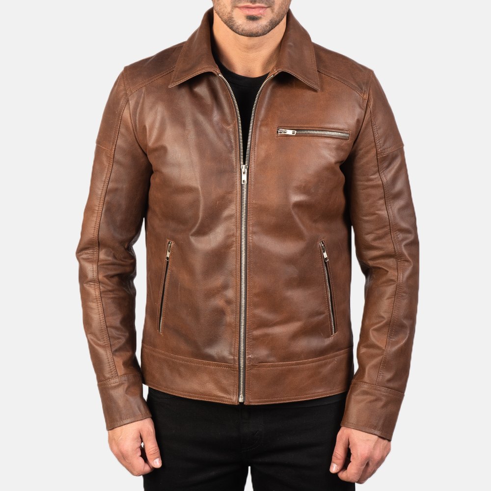 Mens Lavendard Brown Leather Biker Jacket 4