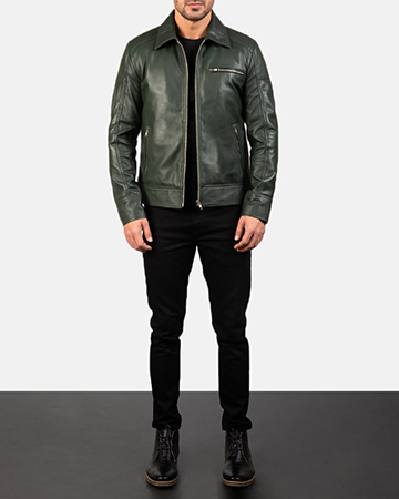 Mens Lavendard Green Leather Biker Jacket 1
