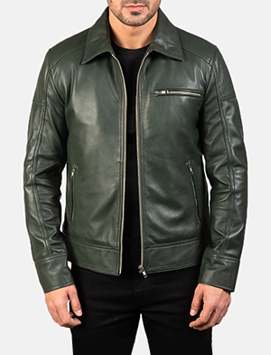 Mens Lavendard Green Leather Biker Jacket