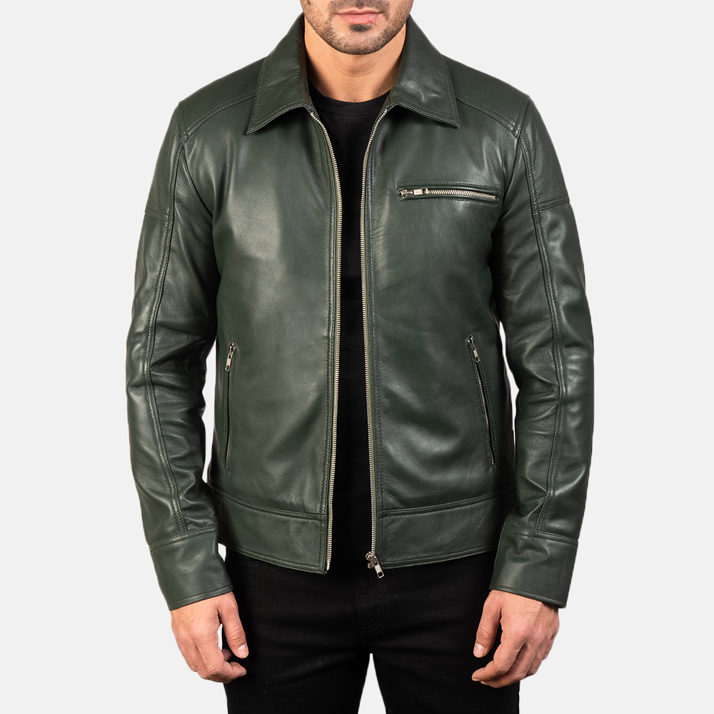 Mens Lavendard Green Leather Biker Jacket 3