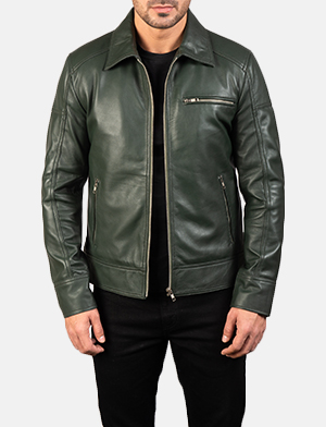 Mens Lavendard Green Leather Biker Jacket