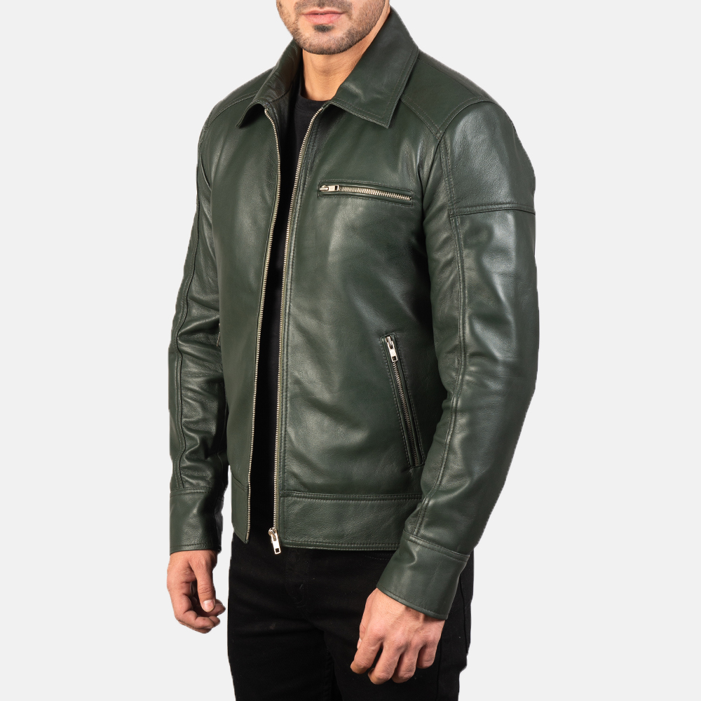 Mens Lavendard Green Leather Biker Jacket 2
