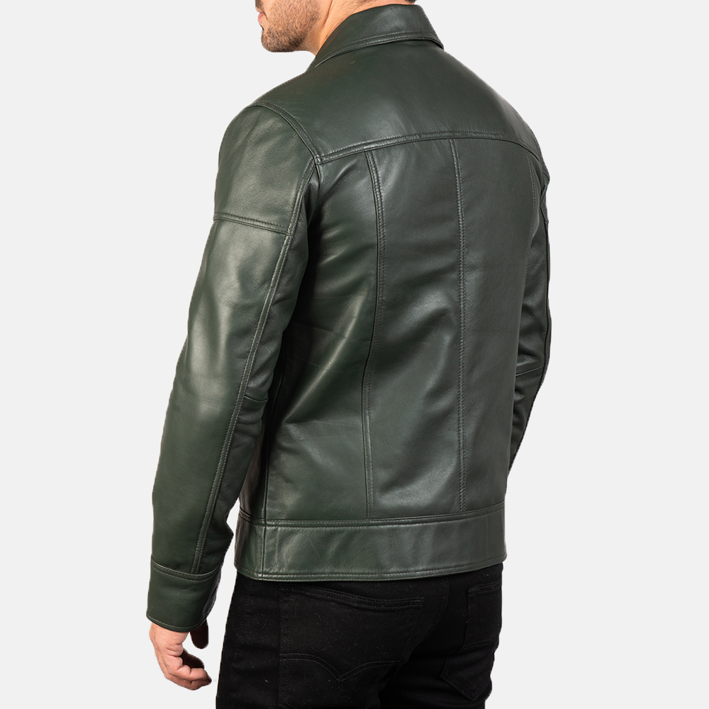 Mens Lavendard Green Leather Biker Jacket 5