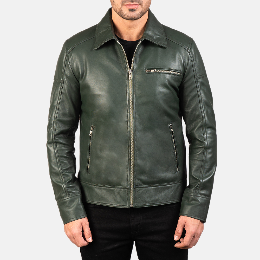 Mens Lavendard Green Leather Biker Jacket 4